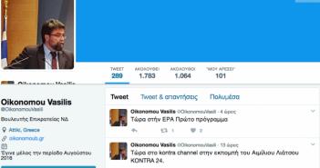 Το απίστευτο Tweet του Βασίλη Οικονόμου για τον Διοικητή του Νοσοκομείου Αγρινίου
