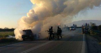 Ιόνια Οδός: Όχημα κάηκε ολοσχερώς