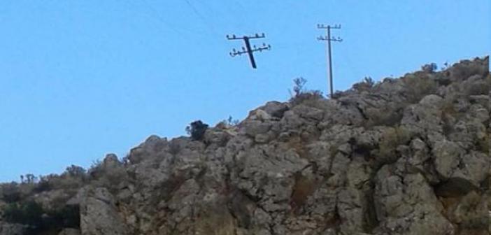 Κολόνα του ΟΤΕ στο Αρχοντοχώρι κρέμεται από καλώδια! (ΔΕΙΤΕ ΦΩΤΟ)