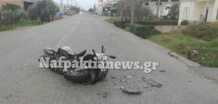 Ναύπακτος: Τροχαίο ατύχημα με τραυματισμό δικυκλιστή στον Πλατανίτη (ΔΕΙΤΕ ΦΩΤΟ)