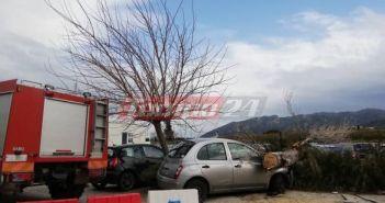 Δυτική Ελλάδα: Τεράστιο δέντρο έπεσε σε αυτοκίνητα στο πάρκινγκ του Πανεπιστημιακού Νοσοκομείου – Από θαύμα δεν θρηνήσαμε θύματα – Μεγάλη επιχείρηση της Πυροσβεστικής (ΔΕΙΤΕ ΦΩΤΟ)