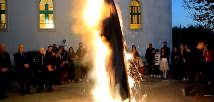 Αναβίωσαν τα έθιμα των εικονισμάτων και το κάψιμο του Ιούδα στο Ευηνοχώρι (VIDEO)