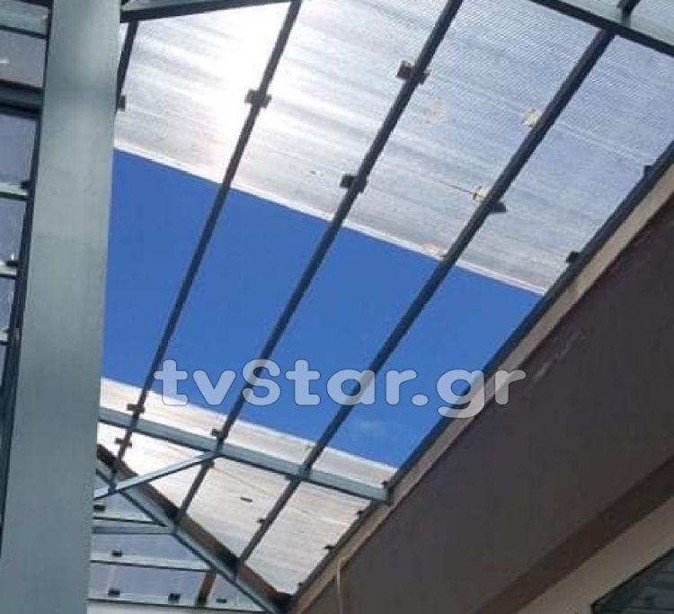 Λαμία: Κινδύνευσαν στο πανεπιστήμιο. Κατέρρευσε η γυάλινη οροφή (ΦΩΤΟ + VDIEO)