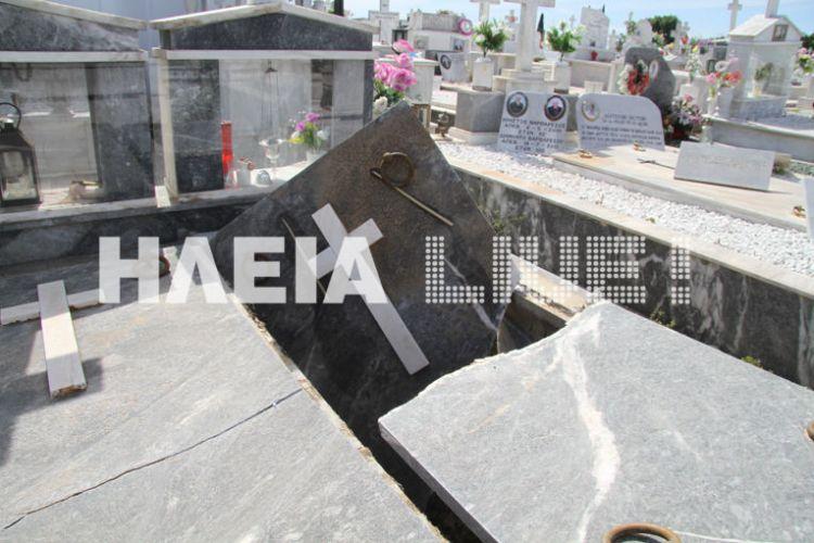 Ηλεία: Οι σεισμοί διέλυσαν τάφους στο νεκροταφείο Ανδραβίδας (ΔΕΙΤΕ ΦΩΤΟ)