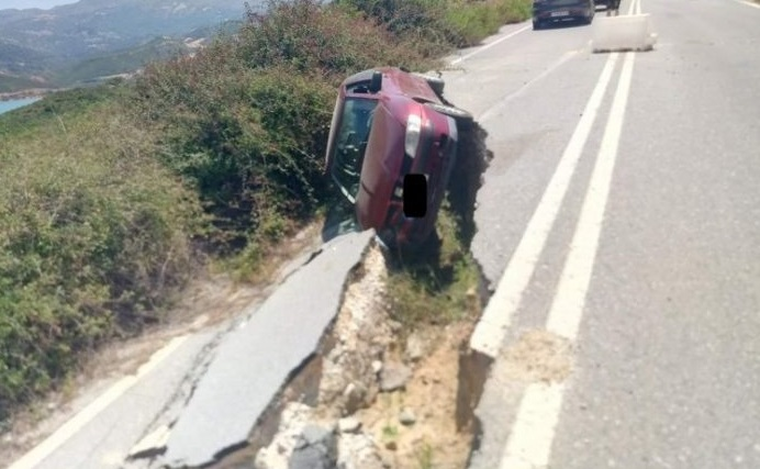 Ρέθυμνο: «Έφυγε» ο δρόμος κάτω από το αυτοκίνητο (ΦΩΤΟ)