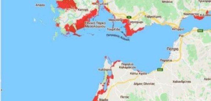 Αιτωλοακαρνανία: Οι περιοχές που κινδυνεύουν να βρεθούν κάτω από το νερό μέχρι το 2050