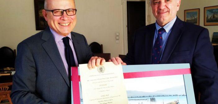 Συνάντηση του Δημάρχου Ι.Π. Μεσολογγίου Κώστα Λύρου με τον Ιταλό Πρέσβη Efisio Luigi Marras (ΦΩΤΟ)