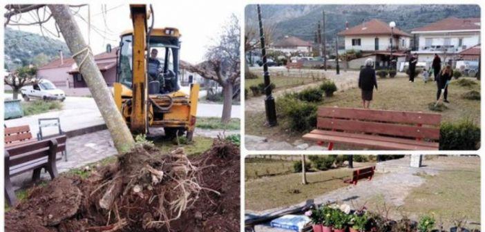 Δεντροφύτευση και καθαρισμός κοινοχρήστων χώρων στο Βασιλόπουλο (ΦΩΤΟ)