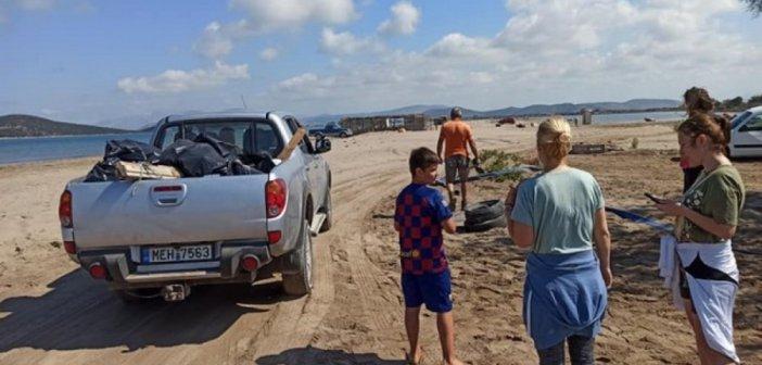 Άστραψε από καθαριότητα η παραλία στο Διόνι