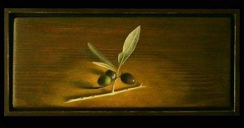"""Προσφορά του έργου """"κλαδί ελιάς""""- λάδι σε ξύλο, από τον Χ.Γαρουφαλή προς δημοπρασία υπέρ των Δομών Υγείας της Αιτωλοακαρνανίας"""