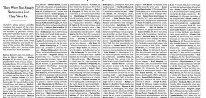 Ανατριχίλα! Πρωτοσέλιδο των New York Times με τα ονόματα των θυμάτων του κορονοϊού στις ΗΠΑ!