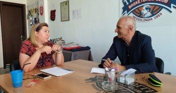 Συνάντηση Βαρεμένου με την πρόεδρο του Χαρίλαου Τρικούπη Βασιλική Μπελέκου
