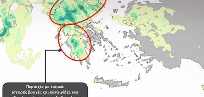 Καιρός: Καταιγίδες και χαλαζοπτώσεις από το μεσημέρι – Δείτε σε χάρτη πού θα χτυπήσει η κακοκαιρία