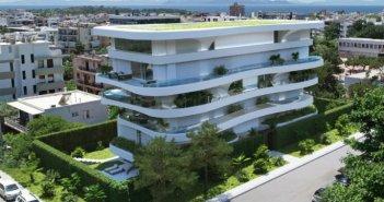 Πολυτελής πολυκατοικία στη Γλυφάδα έχει πισίνα σε κάθε μπαλκόνι και τα διαμερίσματα μοιάζουν με μικρές βίλες