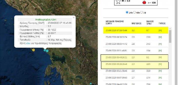 Σεισμικές δονήσεις στην περιοχή της Πρέβεζας – 3,2 Ρίχτερ ο μεγαλύτερος