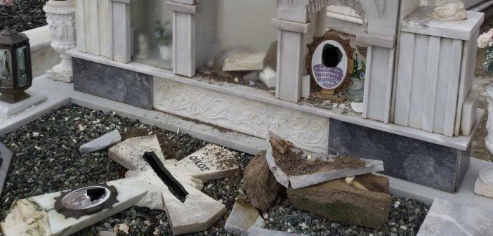 Στόχος βανδάλων το κοιμητήριο του Αγίου Κωνσταντίνου (ΔΕΙΤΕ ΦΩΤΟ)