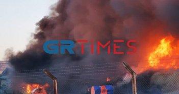 Φωτιά στη δυτική είσοδο της Θεσσαλονίκης(ΒΙΝΤΕΟ)