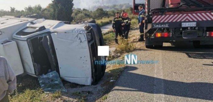 Μακύνεια: Φορτηγό αυτοκίνητο εξετράπη της πορείας του και ντελαπάρισε(video)