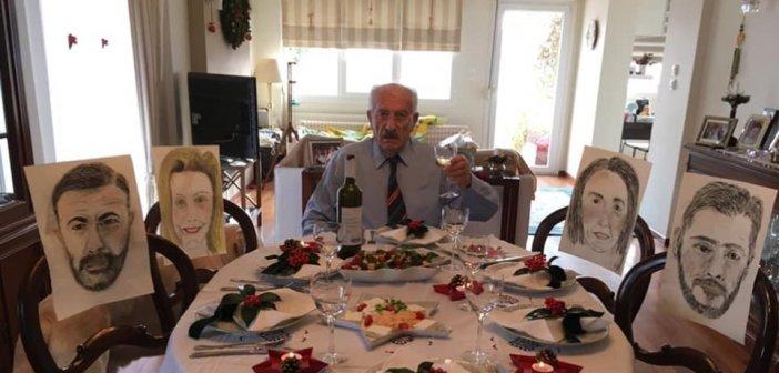 Zωγράφισε τα παιδιά του σε ακουαρέλα για το τραπέζι των Χριστουγέννων