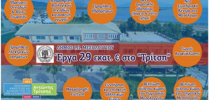 """Δήμος Μεσολογγίου: 11 προτάσεις για έργα ύψους 29 εκατ. ευρώ στο πρόγραμμα """"Αντώνης Τρίτσης"""""""