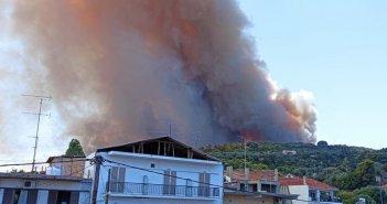 Aνεξέλεγκτη φωτιά στη Ζήρια Αχαΐας – Εκκενώνονται τέσσερις οικισμοί, απομακρύνθηκαν λουόμενοι