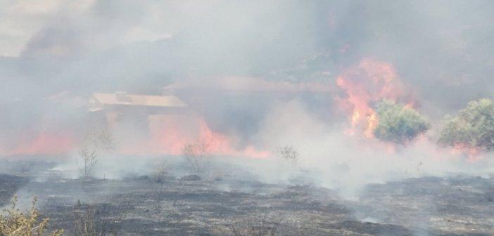 Γαλατάς: Πυρκαγιά κοντά σε σπίτια (Φωτό)