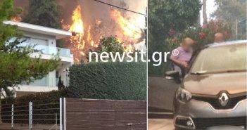 Σταμάτα Αττικής: Στα σπίτια η φωτιά! Κάτοικοι φεύγουν για να σωθούν