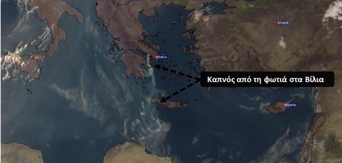 Φωτιά στα Βίλια: Ο καπνός έφτασε μέχρι τις δυτικές ακτές της Κρήτης – Δείτε εικόνα από δορυφόρο