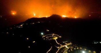 """Ηλεία: Έφτασε στην Ολυμπιακή Ακαδημία η φωτιά, μια """"ανάσα"""" από τον αρχαιολογικό χώρο (εικόνες)"""