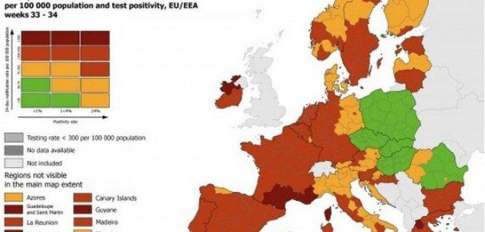 Covid-19: Στο «βαθύ κόκκινο» η Δυτική Ελλάδα στον χάρτη του ECDC