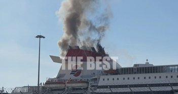 Λιμάνι Πάτρας: Συναγερμός λόγω φωτιάς σε πλοίο- Πυκνοί καπνοί στην καμινάδα (φωτογραφίες – βίντεο)